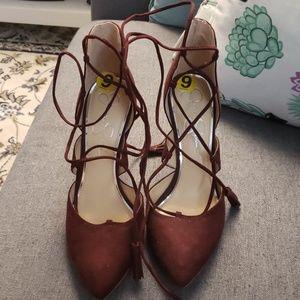 Jessica Simpson burgundy suede heels